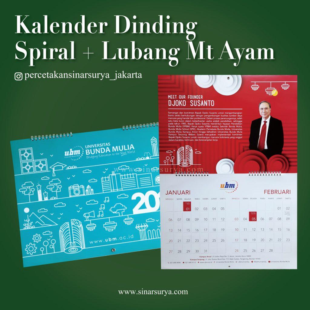 Kalender Dinding Spiral Dan Mata Ayam. Cetak Kalender, Cetak Offset